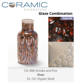 Smoke & Fire CG986 over Oyster Shell EL101 Glaze Combination