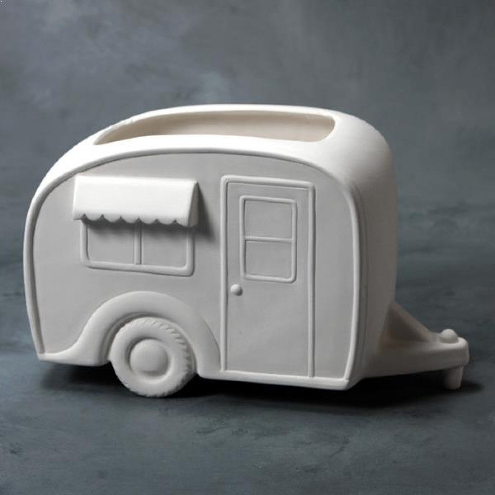 Ready To Paint Mayco Bisque Vintage Camper Container