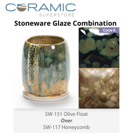 Olive Float SW-151 over Honeycomb SW-117 Stoneware Combination