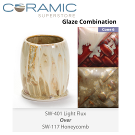 Light Flux SW-401 over Honeycomb SW-117 Stoneware Combination